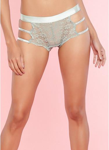 Lace Glitter Caged Side Cheeky Boyshort Panties,SAGE,large