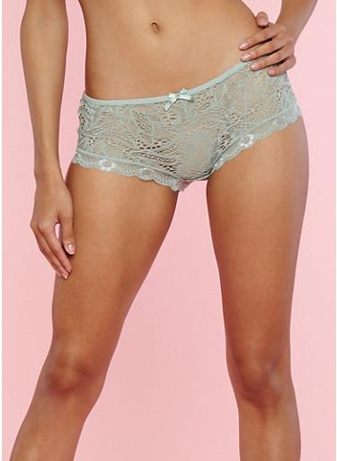 Scallop Lace Boyshort Panties,SAGE,large