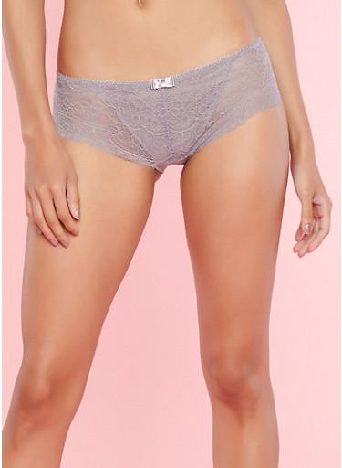 Lilac All Over Lace Boyshort Panties,GRAY RIDGE,large