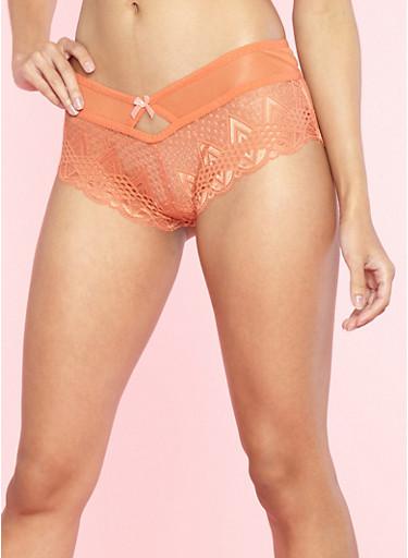 Lace Boyshort Panties with Mesh Detail,MANGO/PEACH,large