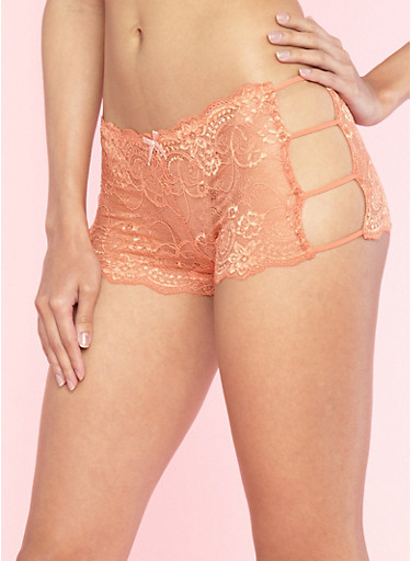 Peach Caged Side Lace Boyshort Panties,MANGO/PEACH,large