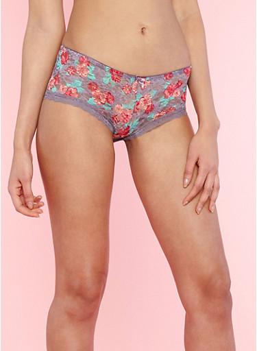 Floral Lace Boyshort Panties,MED PURPLE,large