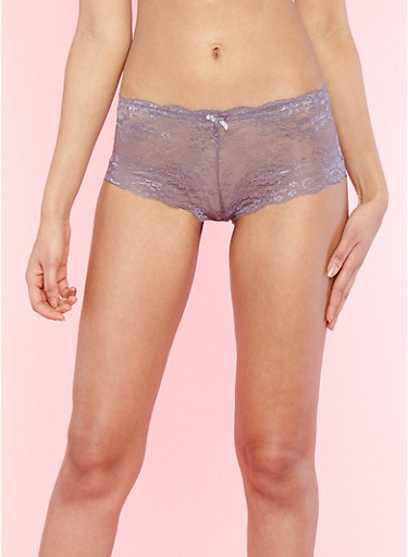 Cheeky Caged Back Lace Boyshort Panties,MED PURPLE,large