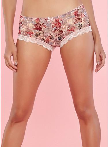 Floral Lace Boyshort Panties,PINK,large