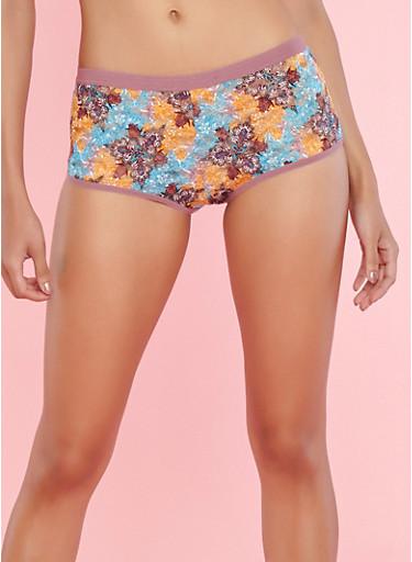 Printed Lace Boyshort Panties,DUSKY ORCHID MULTI,large
