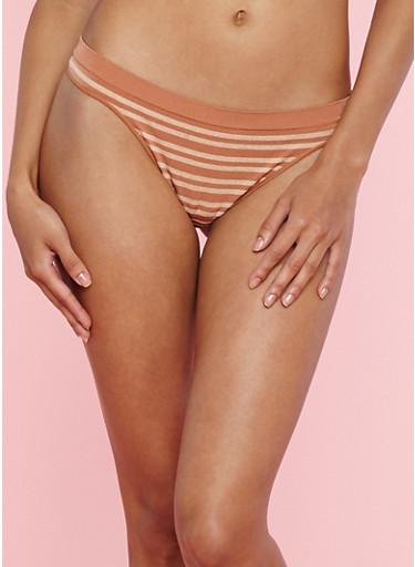 Striped Thong Panties,BROWN,large