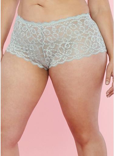 Plus Size Scalloped Lace Boyshort Panties,SAGE,large