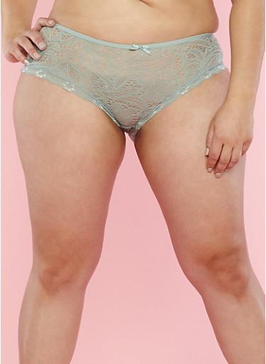 Plus Size Sage Lace Boyshort Panties,SAGE,large