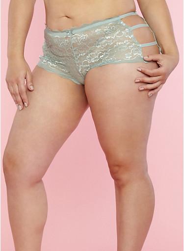 Plus Size Lace Caged Side Boyshort Panties,SAGE,large