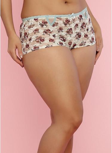 Plus Size Rose Print Lace Boyshort Panties,SAGE,large