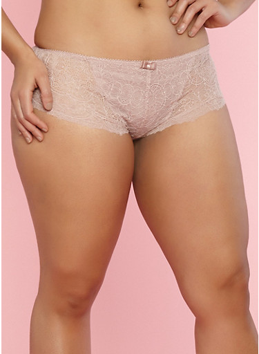 Plus Size All Over Lace Boyshort Panties,MEDIUM PINK,large