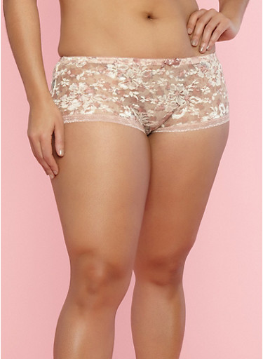 Plus Size Floral Lace Hipster Panties,PRISITNE/MEDIUM PINK,large