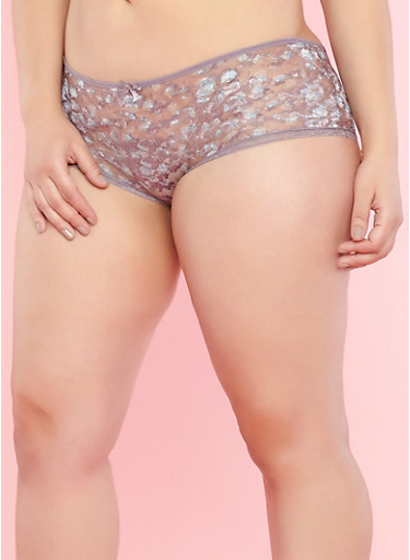 Plus Size Floral Caged Back Panties,GRAY RIDGE/SKY BLUE,large