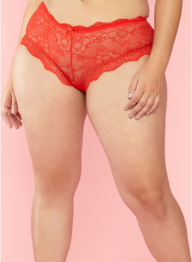 Plus Size Scallop Lace Boyshort Panties,RED,large