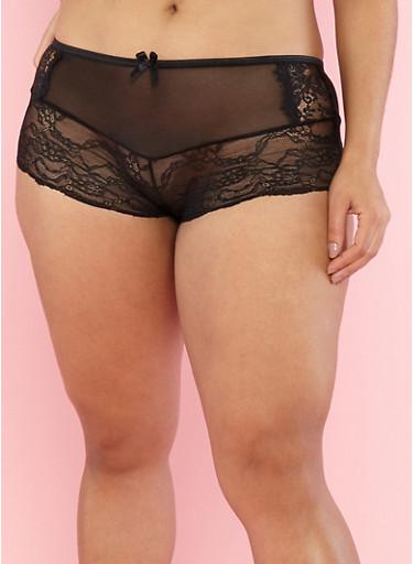 Plus Size Lace Mesh Boyshort Panties,BLACK,large
