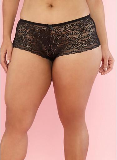 Plus Size Lace Boyshort Panties with Caging,BLACK,large