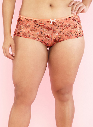 Plus Size Floral Mesh Cheeky Panties,MANGO/PEACH,large