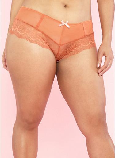 Plus Size Lace and Mesh Boyshort Panties,MANGO/PEACH,large