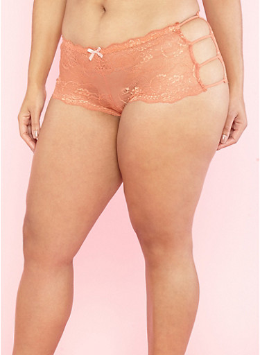 Plus Size Lace Open Side Boyshort Panties,MANGO/PEACH,large