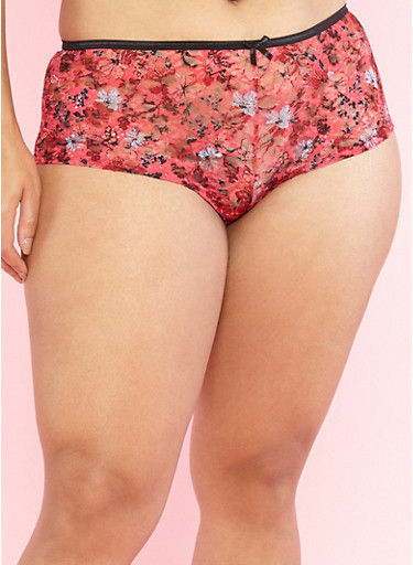Plus Size Floral Lace Boyshort Panties,RED/BLACK,large