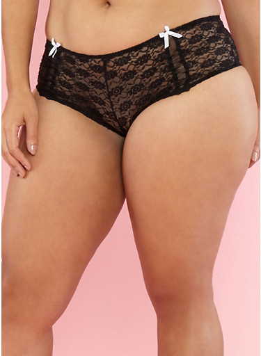Plus Size Lace Boyshort Panties with Fishnet Trim,BLACK/WHITE,large