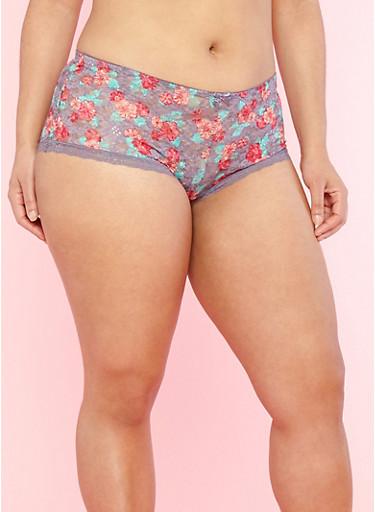 Plus Size Floral Lace Boyshort Panties,MED PURPLE,large