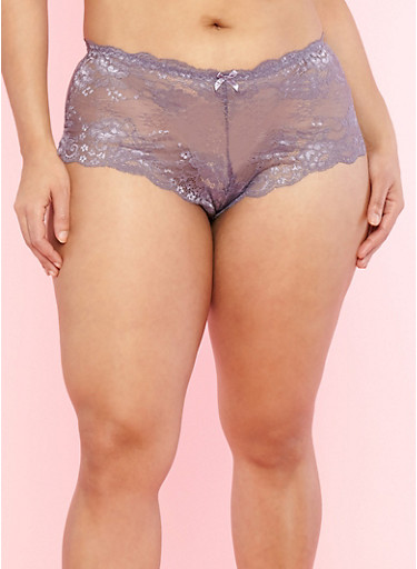 Plus Size Purple Caged Back Panties,MED PURPLE,large