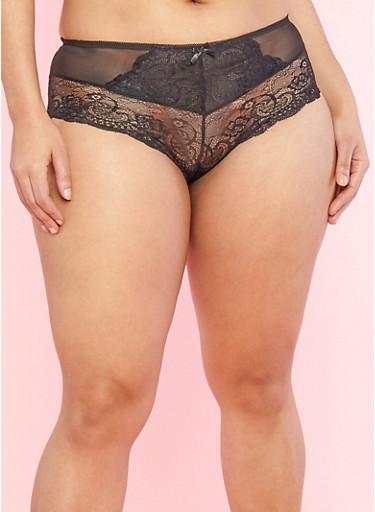 Plus Size Mesh Trim Black Lace Boyshort Panties,BLACK/SLIVER,large