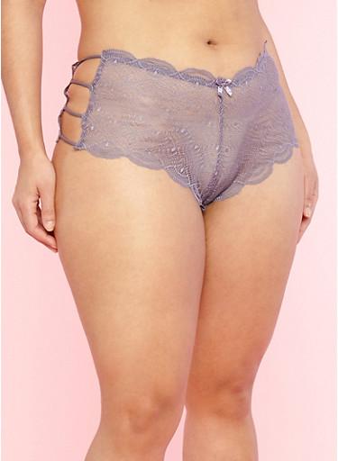 Plus Size Caged Side Purple Lace Boyshort Panties,MED PURPLE,large