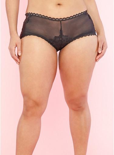 Plus Size Black Lace and Mesh Boyshort Panties,BLACK,large