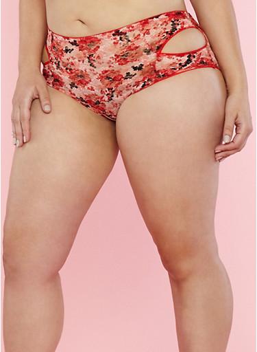 Plus Size Side Cutout Lace Boyshort Panties,RED,large