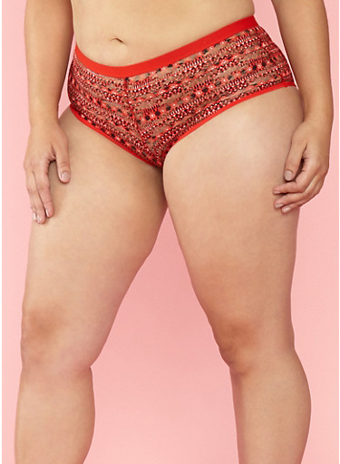 Plus Size Printed Lace Boyshort Panties,RED,large