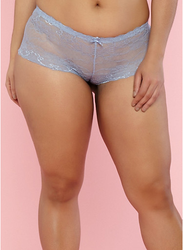 Plus Size Lace Boyshort Panties,EVENTIDE MULTI,large