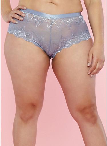 Plus Size Lace Boyshort Panties,EVENTIDE MULTI,large