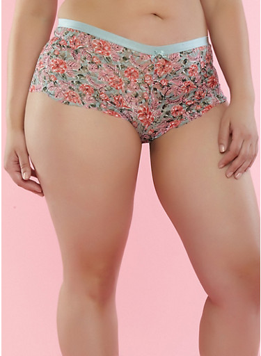 Plus Size Printed Lace Boyshort Panties,JADE,large