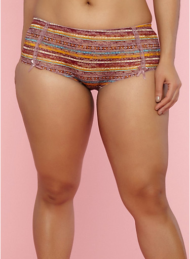 Plus Size Printed Lace Hipster Panties,DUSKY ORCHID MULTI,large