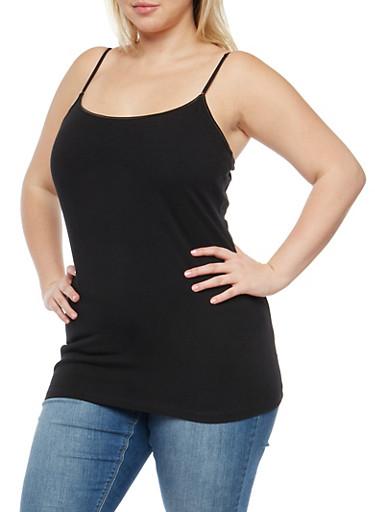 Plus Size Basic Cami,BLACK,large