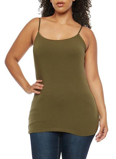 Plus Size Basic Cami,OLIVE,large