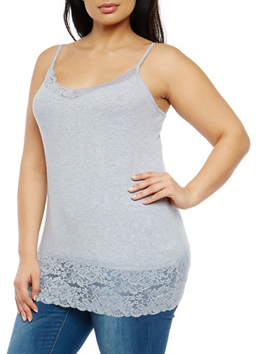 Plus Size Lace Trim Cami,HEATHER GREY,large