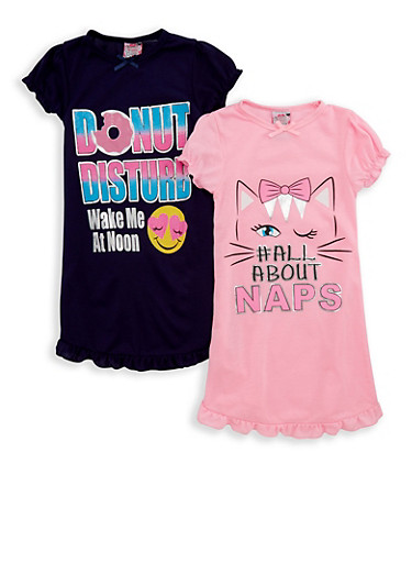 Girls 4-16 Set of 2 Foil Graphic Nightgowns,MULTI COLOR,large