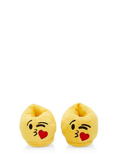 Girls 12-4 Kiss Emoji Slippers,YELLOW,large