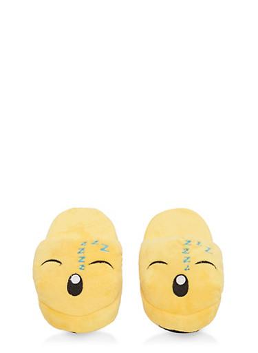 Girls 12-4 Sleeping Emoji Slippers,YELLOW,large