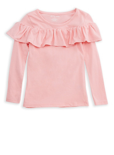 Girls 4-6x Ruffled Long Sleeve T Shirt,PINK,large