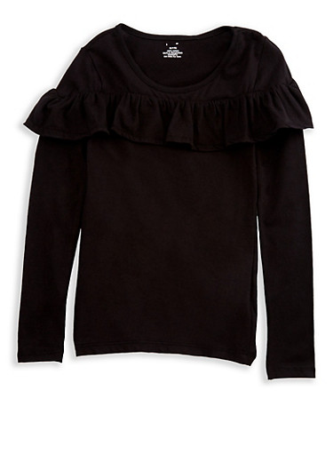 Girls 7-16 Long Sleeve Ruffled Front Solid Top at Rainbow Shops in Jacksonville, FL | Tuggl