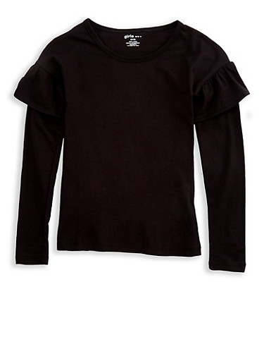 Girls 7-16 Long Sleeve Ruffled Solid Top,BLACK,large