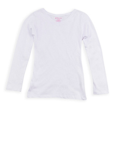 Girls 7-16 Long Sleeve Solid V Neck Top,WHITE,large
