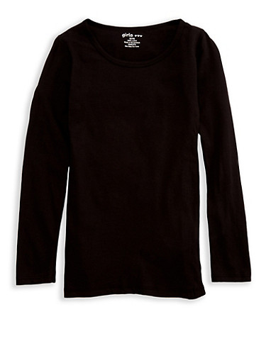 Girls 7-16 Long Sleeve Crew Neck T Shirt,BLACK,large