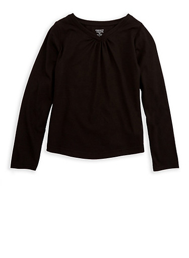 Girls 7-16 French Toast Long Sleeve V Neck Top,BLACK,large