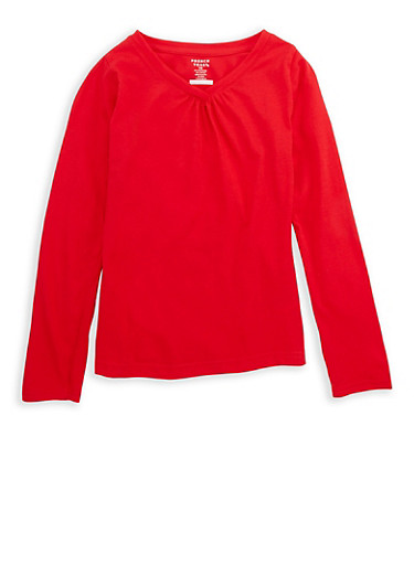 Girls 7-16 French Toast Long Sleeve V Neck Top,RED,large