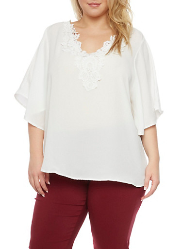 Plus Size Swing Top with Crochet Neckline,IVORY,large